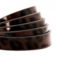 1 Meter Kunstleder-Riemen flach - 10mm - Leopard print - schokoladenbraun