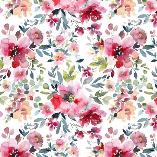 """Baumwoll-Popeline """"Watercolour Flowers"""" - Digitaldruck - weiss/rosa"""