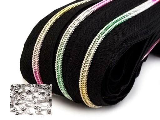 Endlos-Reissverschluss 5mm - regenbogen schwarz - metallisiert- inkl. 4 Zipper