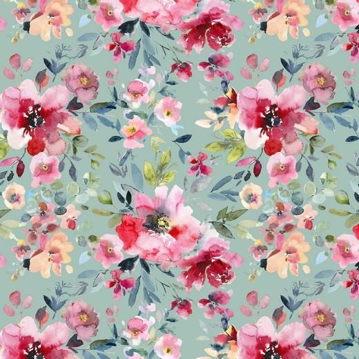 """Baumwoll-Popeline """"Watercolour Flowers"""" - Digitaldruck - mint/rosa"""