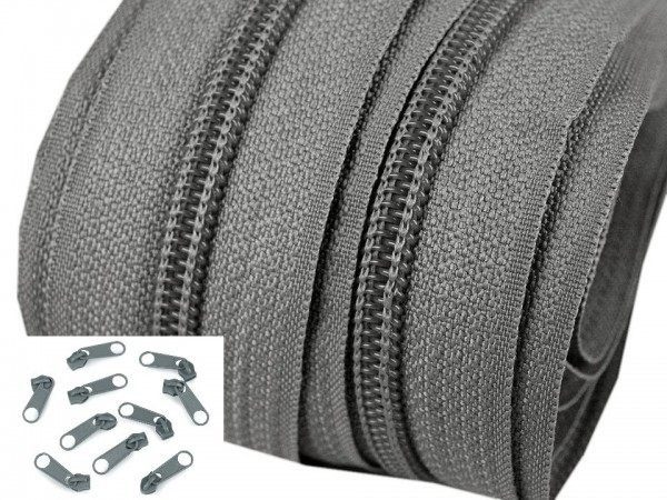 3 Meter Endlos-Reissverschluss 5mm - stahlgrau - inkl. 12 Zipper
