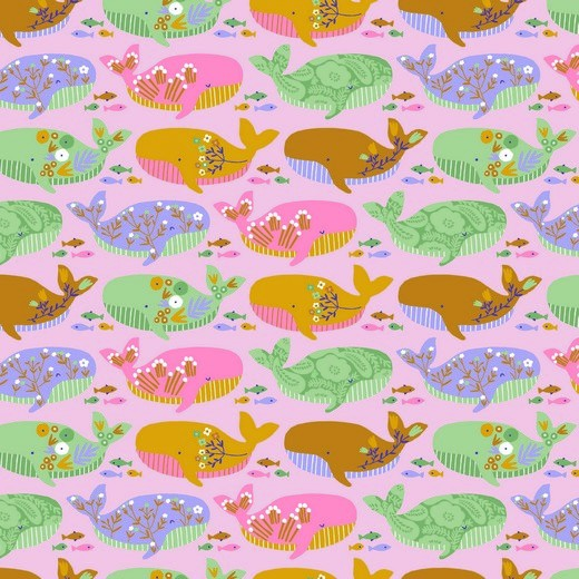 "Bio-Baumwolle ""Fröhliche Wale"" - rosa"