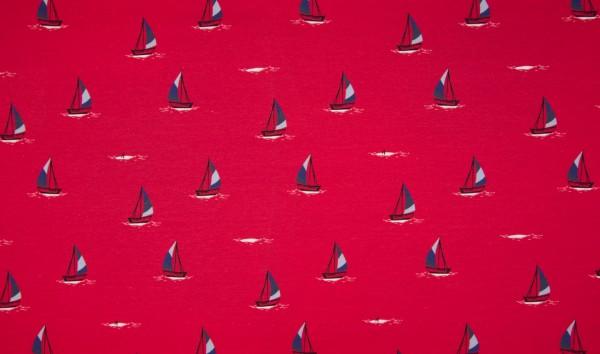 "1 Meter Baumwoll-Jersey ""Sailing Boats"" - rot"