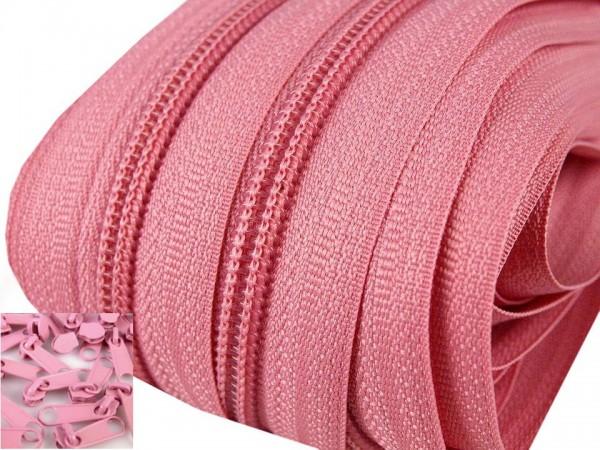 3 Meter Endlos-Reissverschluss 5mm - rosa - inkl. 12 Zipper