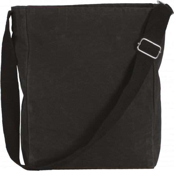 Umhängetasche aus Baumwollcanvas - schwarz