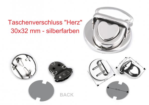 """Taschenverschluss """"Herz"""" - silberfarben - 30x22 mm"""