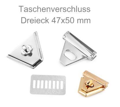 Taschenverschluss dreieckig - drehbar 47x50 mm - silberfarben