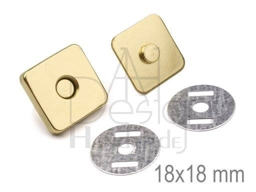 Magnetverschluss - 18x18 mm - eckig - goldfarben (2 Sets)