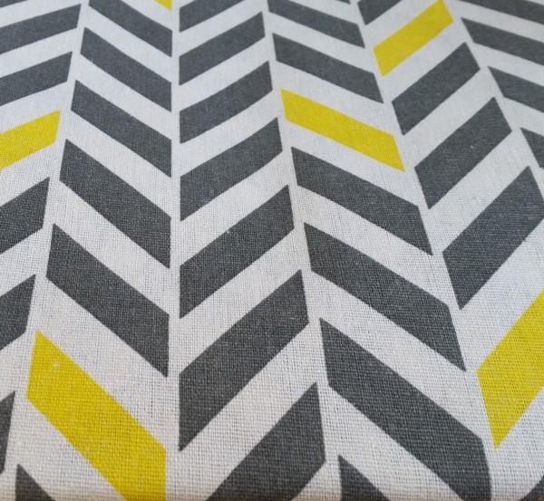 Canvas ZickZack - grau/gelb - Reststück 0,5x1,4m (421/09)