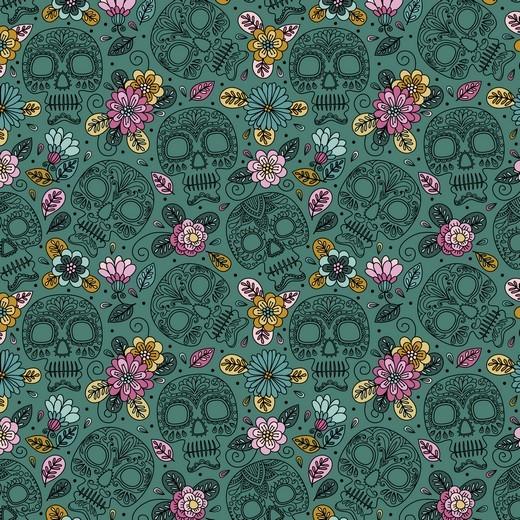 "Baumwoll-Popeline ""Colourful Skull"" - dunkelgrün"