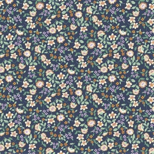 "Baumwoll-Popeline ""Flowers"" - marine"