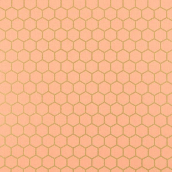 Dekostoff Hexagon - apricot/gold - Reststück 0,6x1,4m (452/09)