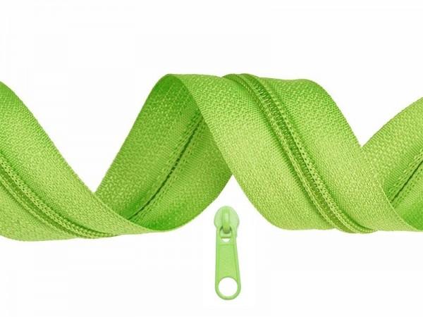 3 Meter Endlos-Reissverschluss 5mm - lime- inkl. 12 Zipper