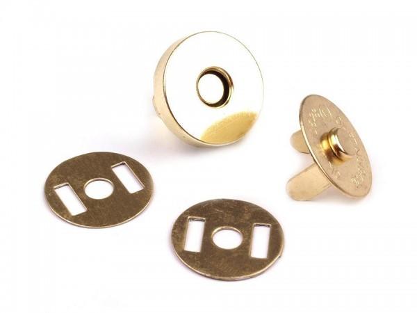 Magnetverschluss - 15mm - rund - goldfarben (5 Sets)
