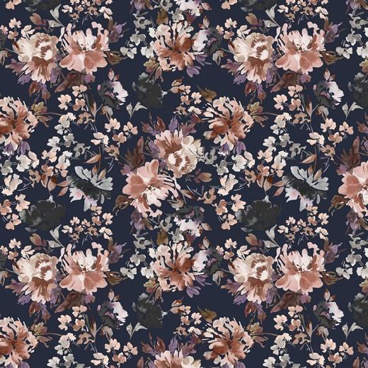 """Baumwoll-Popeline """"Watercolour Flowers"""" - Digitaldruck - navy"""
