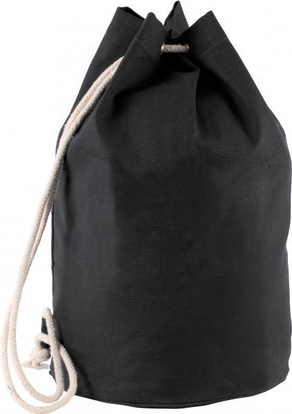 Seesack aus Baumwollcanvas mit Kordel - schwarz