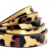1 Meter Kunstleder-Riemen flach - 10mm - Leopard print - gold