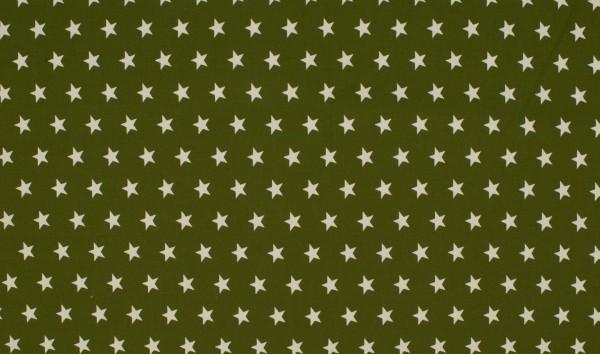 Baumwoll-Popeline - Sternchen olivgrün