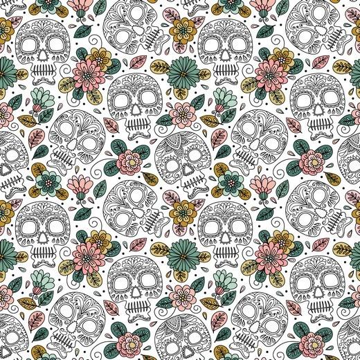 """Baumwoll-Popeline """"Colourful Skull"""" - weiss"""