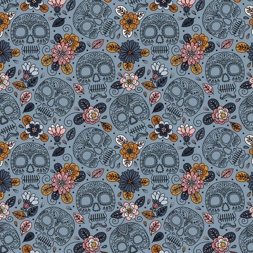 """Baumwoll-Popeline """"Colourful Skull"""" - jeansblau"""