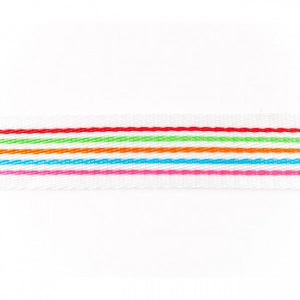 Gurtband - PP - 40 mm - Streifen multicolor - orange