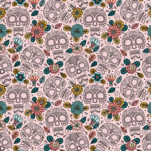 "Baumwoll-Popeline ""Colourful Skull"" - rosa"