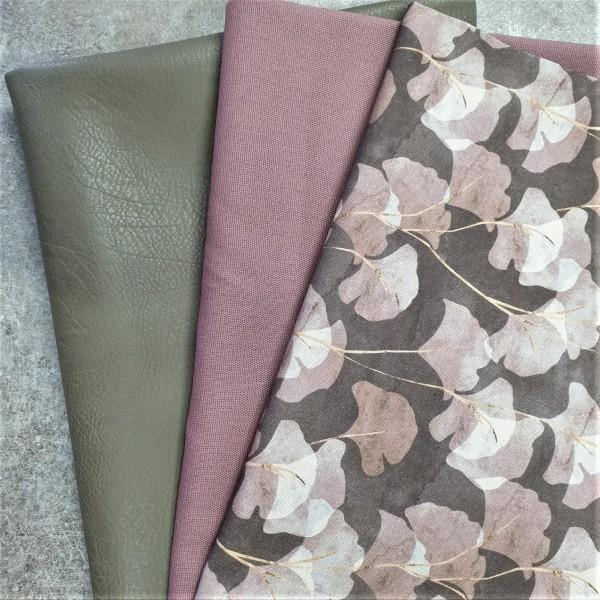 "Taschen-Nähset ""Gingko Flowers"" - taupe"