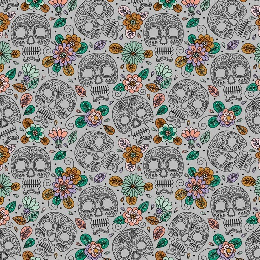 "Baumwoll-Popeline ""Colourful Skull"" - grau"
