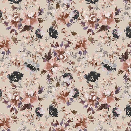 """Baumwoll-Popeline """"Watercolour Flowers"""" - Digitaldruck - sand"""
