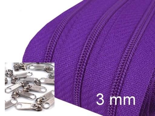3 Meter Endlos-Reissverschluss 3mm - lila - inkl. 12 Zipper