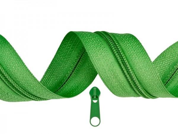 3 Meter Endlos-Reissverschluss 5mm - grasgrün - inkl. 12 Zipper