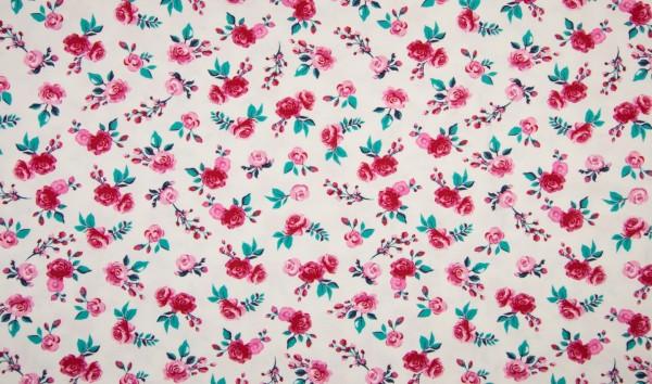 """1 Meter Baumwoll-Jersey """"Rosen"""" - weiss/pink"""