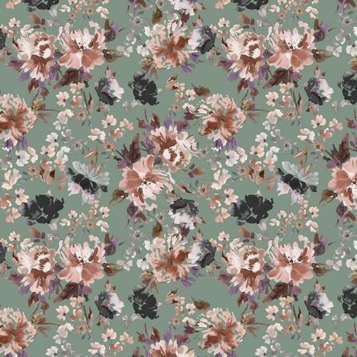 """Baumwoll-Popeline """"Watercolour Flowers"""" - Digitaldruck - mint"""