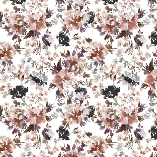 """Baumwoll-Popeline """"Watercolour Flowers"""" - Digitaldruck - weiss"""