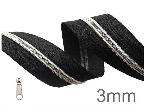 Endlos-Reissverschluss schwarz/silber- metallisiert - 3mm - inkl. 4 Zipper