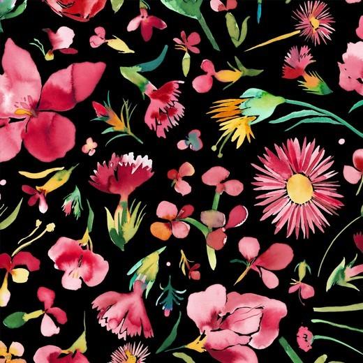 """Canvas Digital - """"Flower Bouquet"""" - schwarz/pink"""