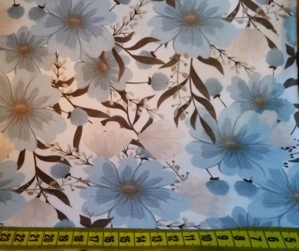 Dekostoff Blue Flowers - Reststück 0,5x1,4m (462/09)