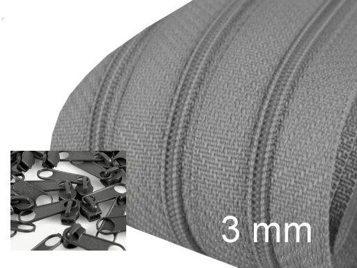 3 Meter Endlos-Reissverschluss 3mm - stahlgrau - inkl. 12 Zipper