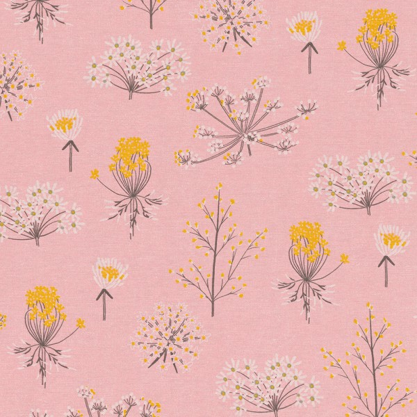 "Dekostoff in Leinenoptik - ""Soft Flower"" - rosa/grau/senfgelb"