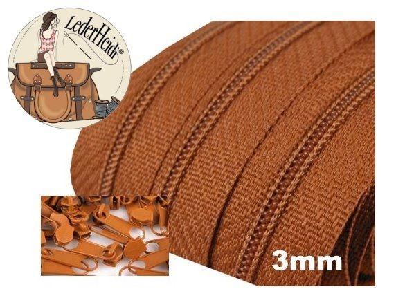 3 Meter Endlos-Reissverschluss 3mm - braun - inkl. 12 Zipper
