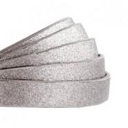 1 Meter Kunstleder-Riemen flach - 10mm - metallic mittelgrau