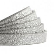 1 Meter Kunstleder-Riemen flach - 10mm - metallic antik-silber
