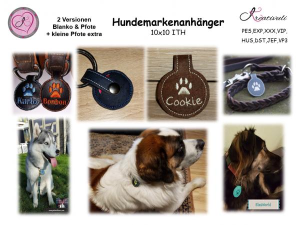 """ITH-Stickdatei - Hundemarkenanhänger """"Anti-Geklapper"""""""