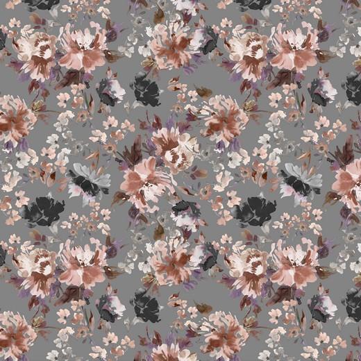 """Baumwoll-Popeline """"Watercolour Flowers"""" - Digitaldruck - grau"""