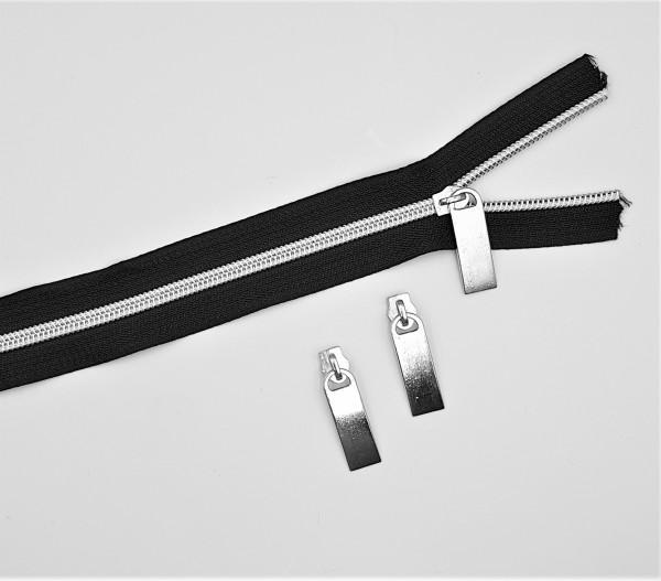 Endlos-Reissverschluss schwarz/silber- metallisiert - 6mm - inkl. 3 Zipper